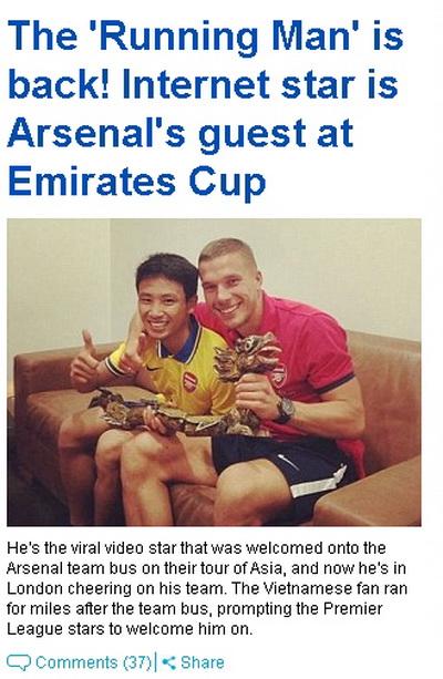 Sao Arsenal thích thú gặp lại Running Man
