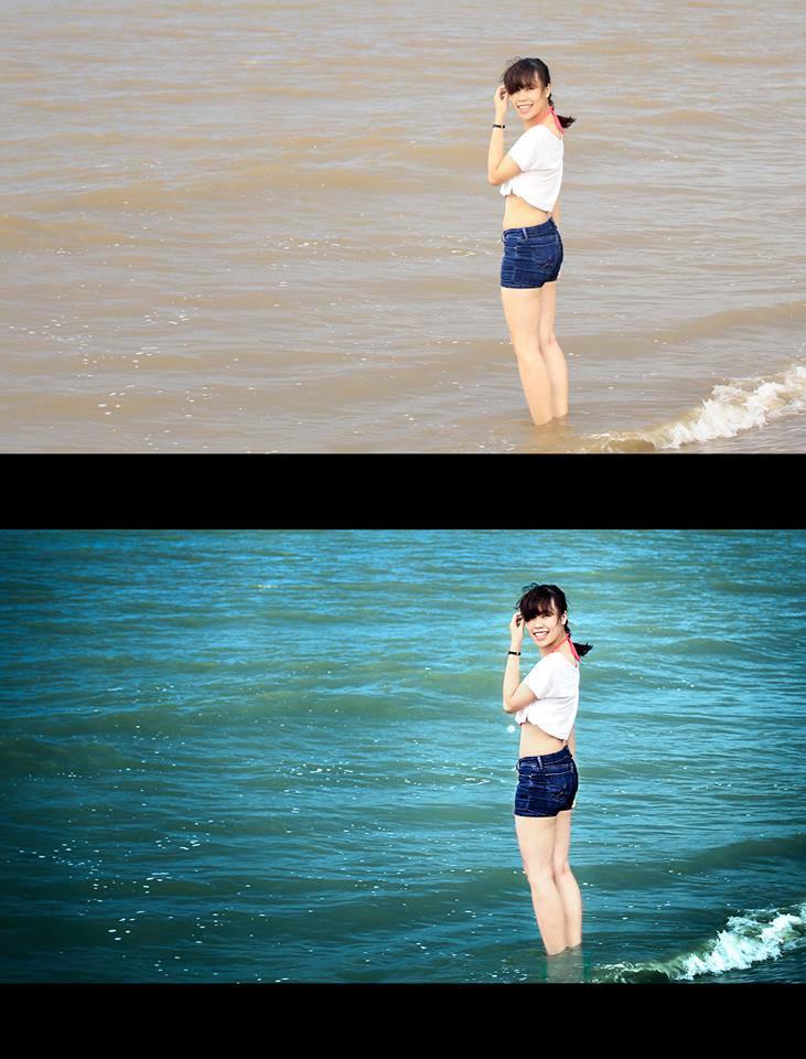 Hướng dẫn blend màu nước biển xanh biếc lung linh