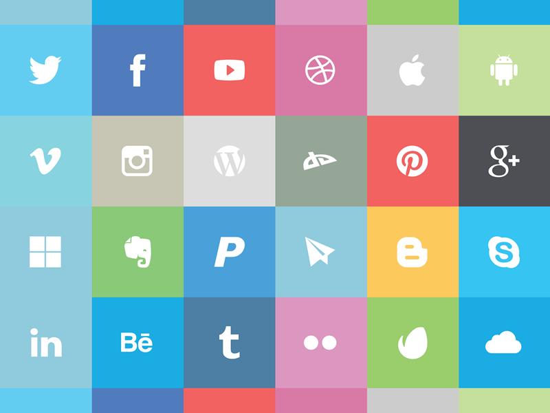 Flat Social Icon Set  cho anh em đồ họa đây