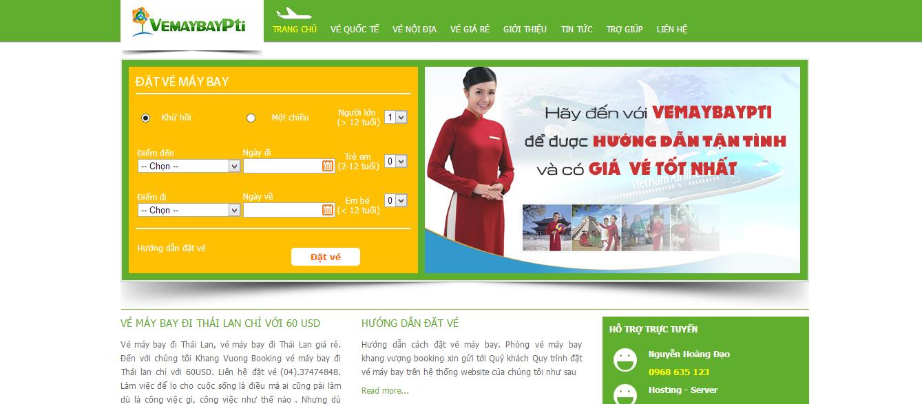 Mẫu website bán vé máy bay trực tuyến