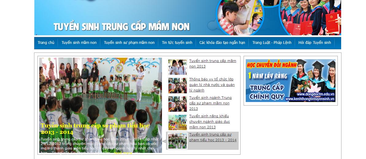 Mẫu website tin tức tuyển sinh