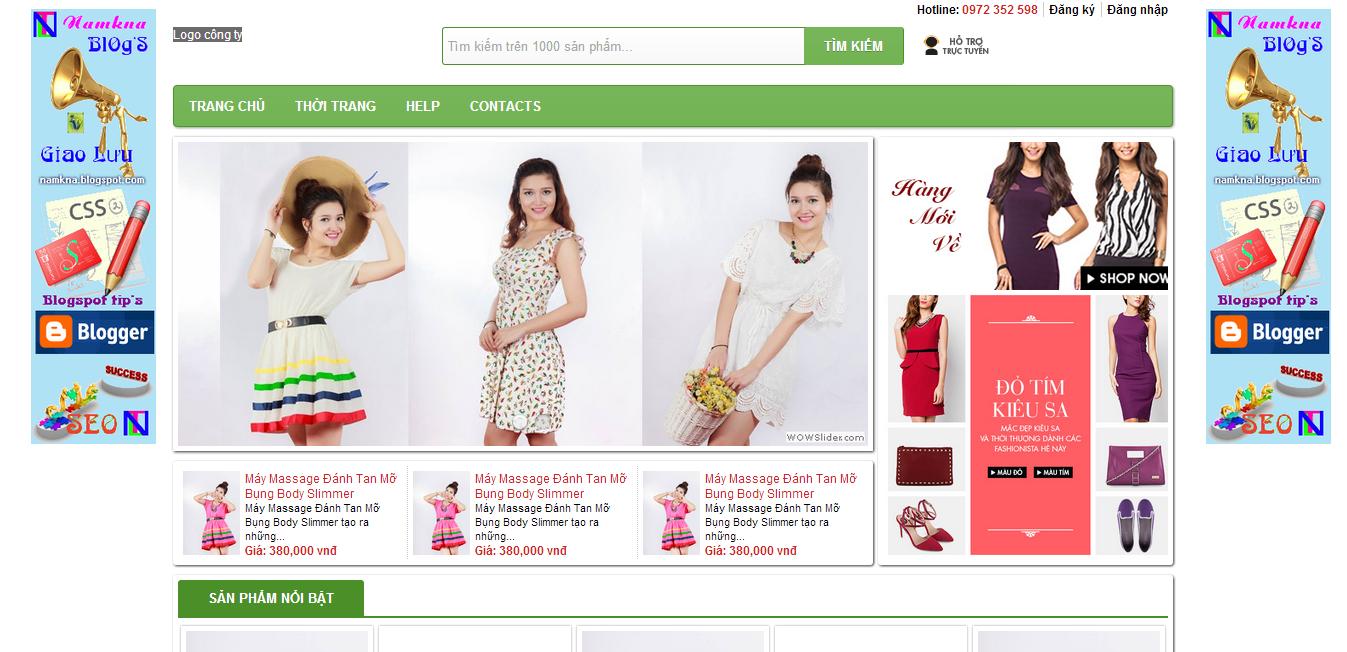 Mẫu website bán quần áo cực cool