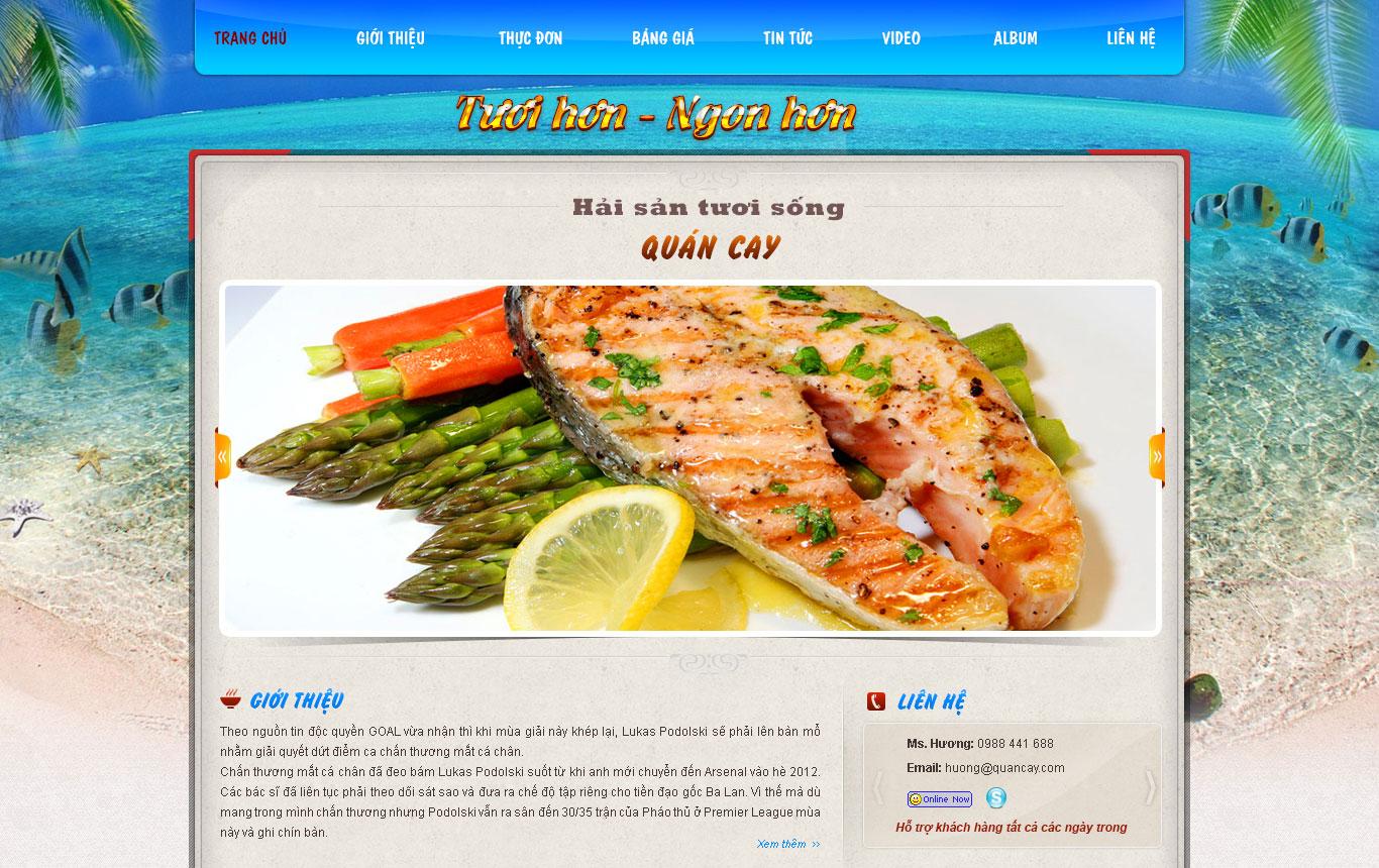 Tempalte website nhà hàng hải sản quán cay