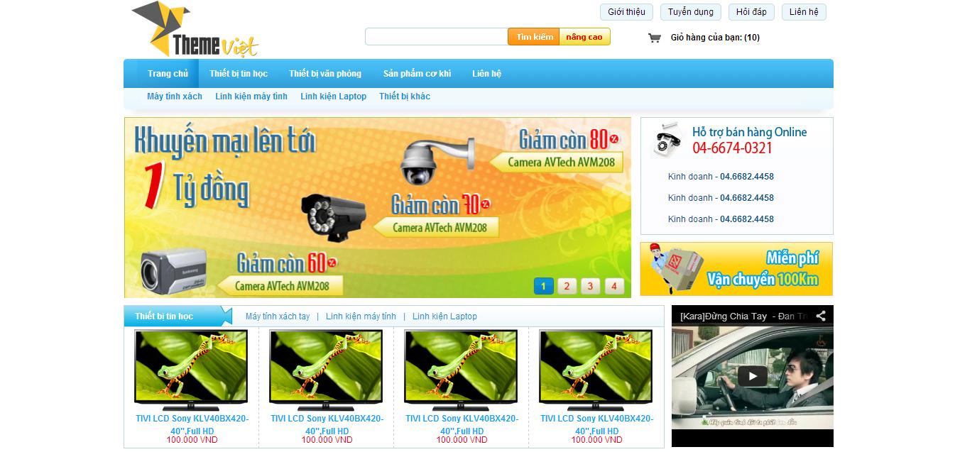 Template bán thiết bị tin học đẹp