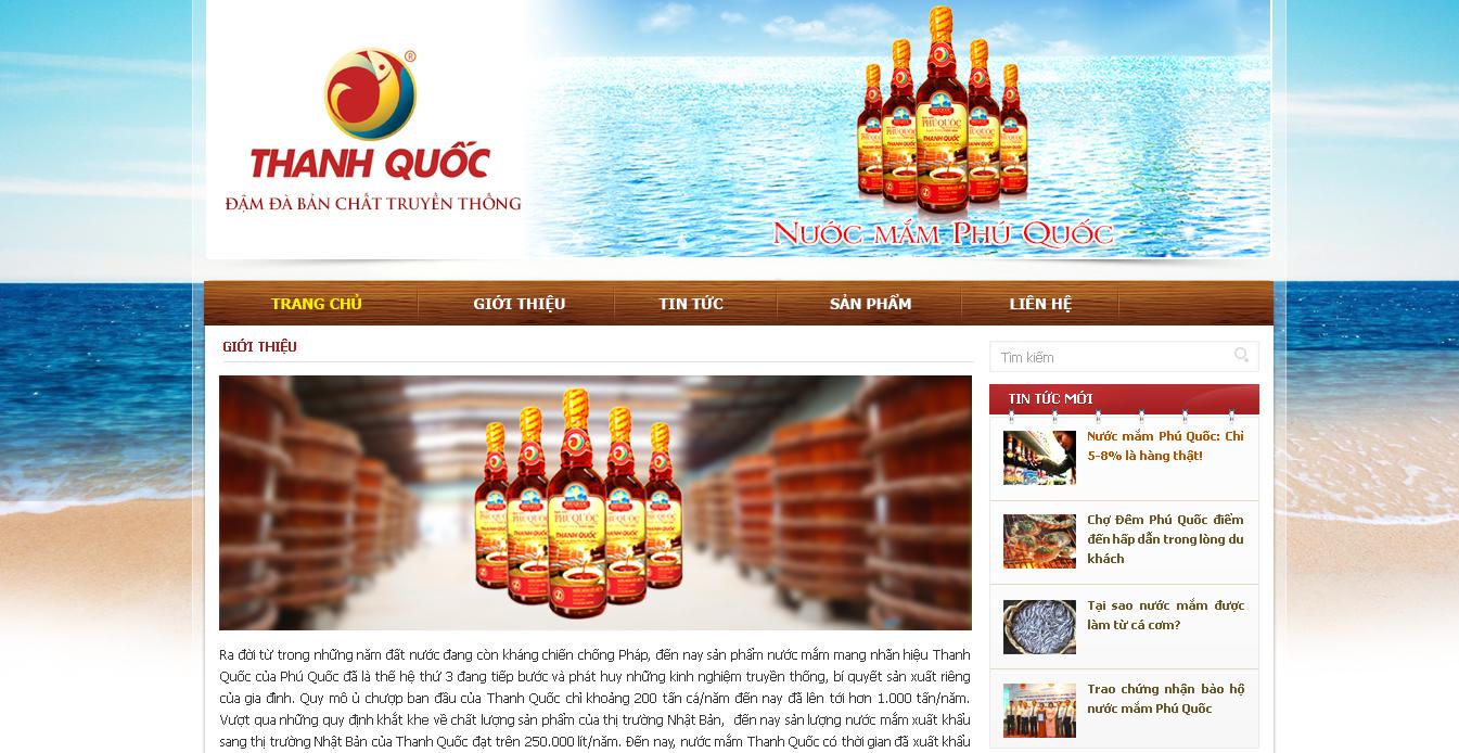 Mẫu website bán nước mắm thanh quốc