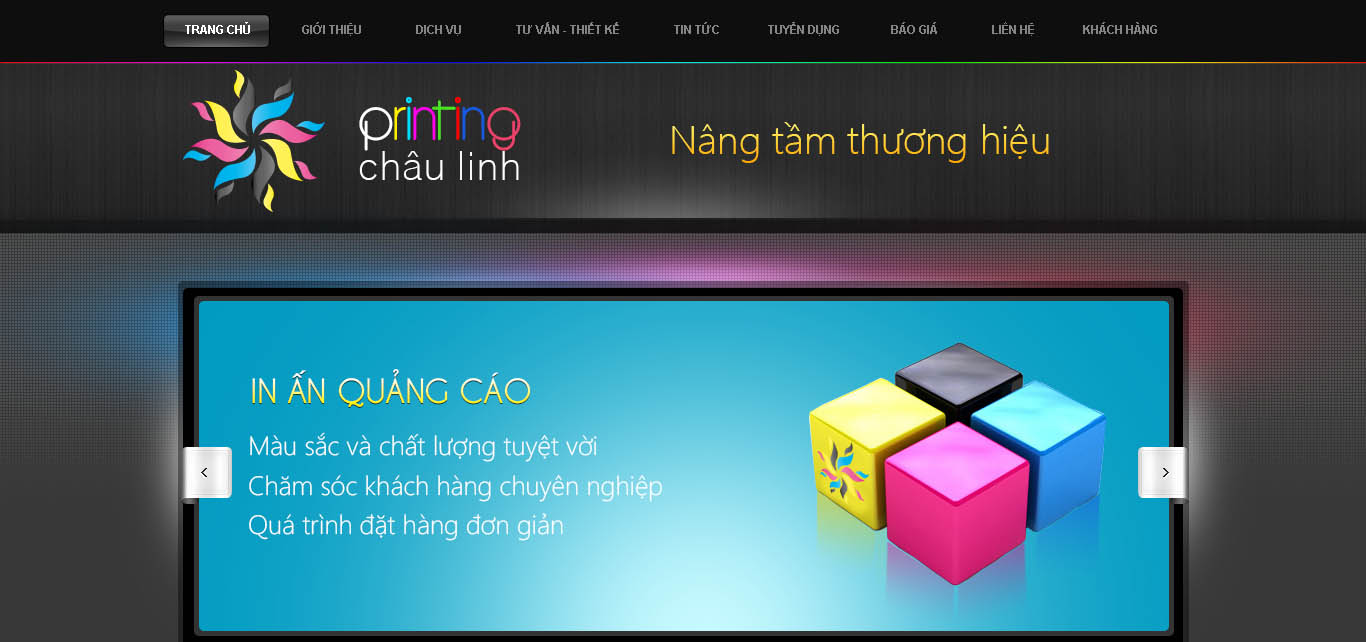 Giao diện website cty in châu linh