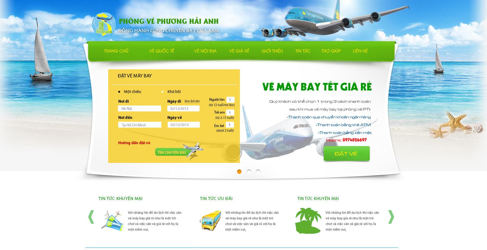 Mẫu website bán vé máy bay đẹp, đầy đủ tính năng