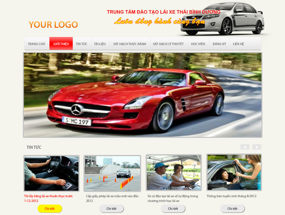 Giao diện website công ty đào tạo lái xe