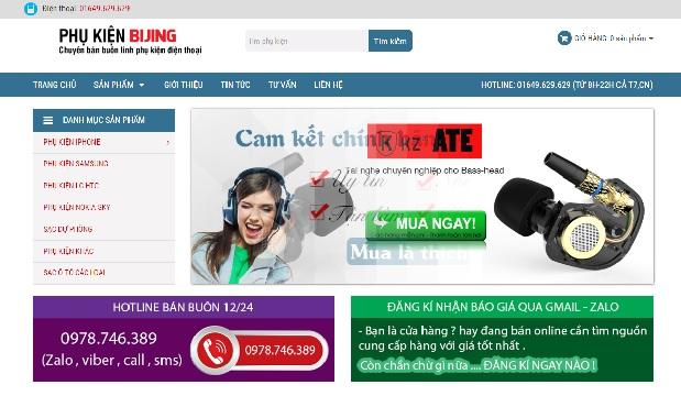 Giao diện website bán linh kiện điện thoại đẹp Responsive chuẩn